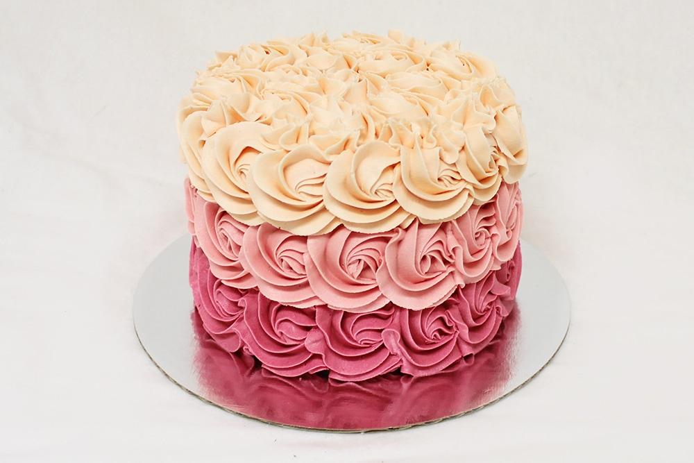 Ombre Buttercream Rose Cake